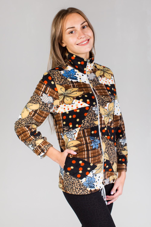 Толстовка женская Ирма на молнииКофты, свитера, толстовки<br><br><br>Размер: Леопард голубой