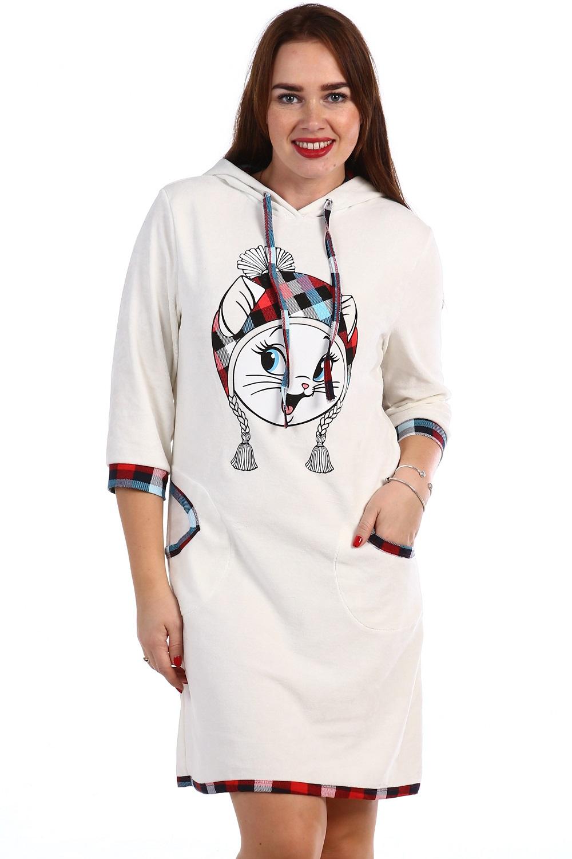 Туника женская Киса с капюшономТуники<br><br><br>Размер: 52