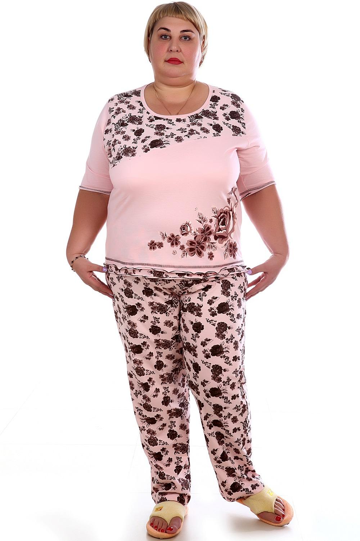 Пижама женская Анон футболка и брюкиДомашняя одежда<br><br><br>Размер: 52