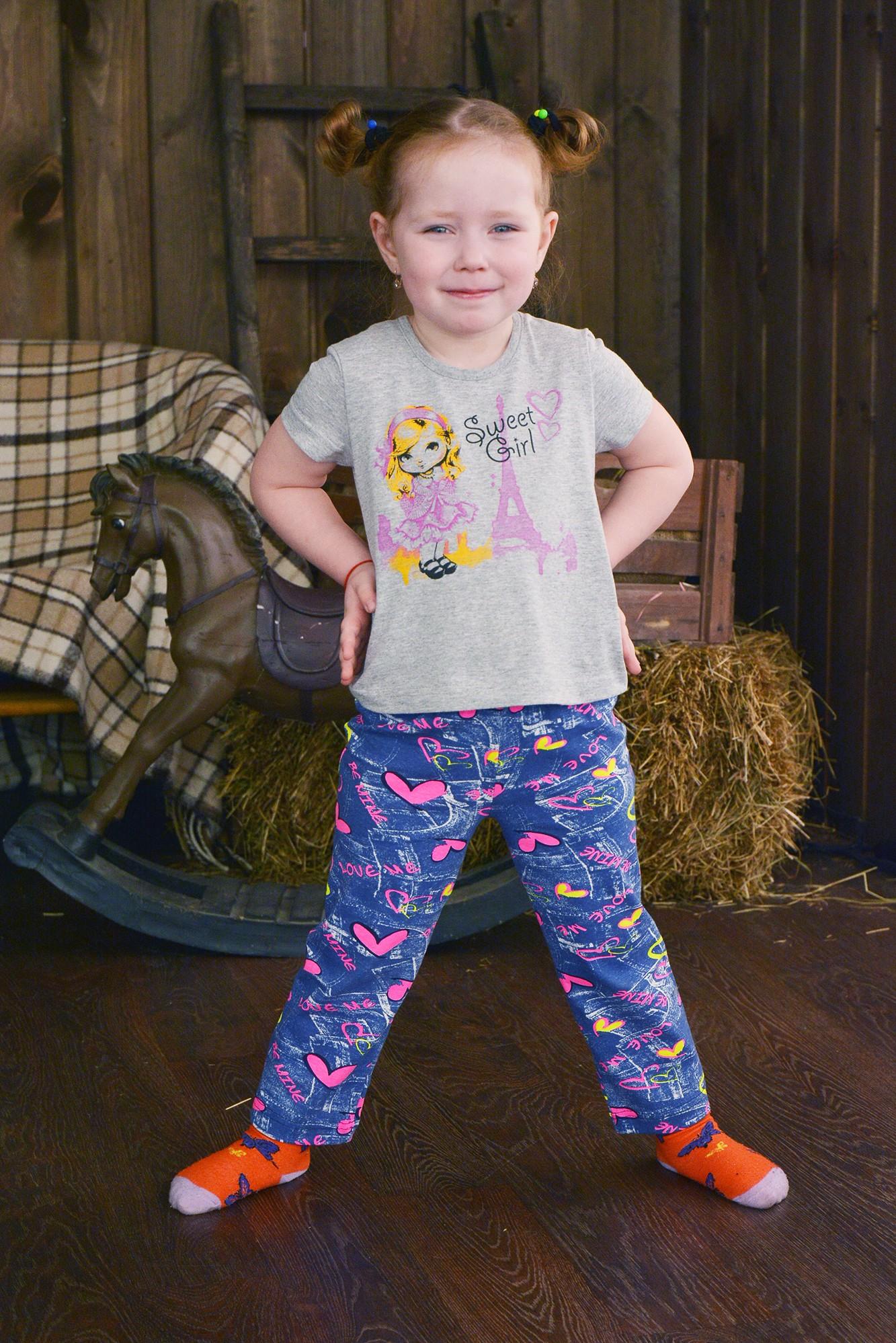Брюки детские Сердечко для девочкиБрюки, штаны, шорты<br><br><br>Размер: 64-110