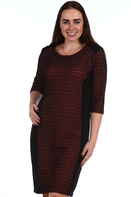 Платье с рукавом 3/4 Эллипс<br><br>Размер: Алый