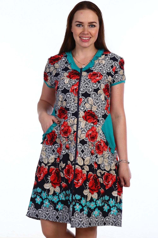 Халат женский Розан на молнииДомашняя одежда<br><br><br>Размер: 48