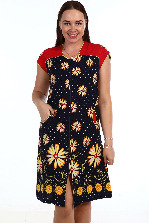 Халат женский Патриция на молнииДомашняя одежда<br><br><br>Размер: Чёрный с зеленым