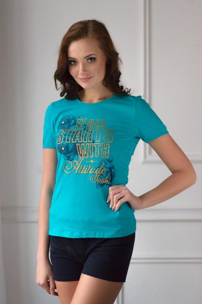 Комплект женский Аргентина футболка и шортыДомашняя одежда<br><br><br>Размер: 46