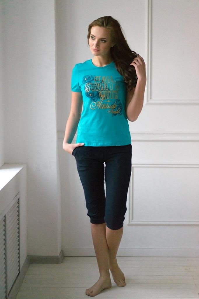 Комплект женский Бразилия футболка и бриджиДомашняя одежда<br><br><br>Размер: 52
