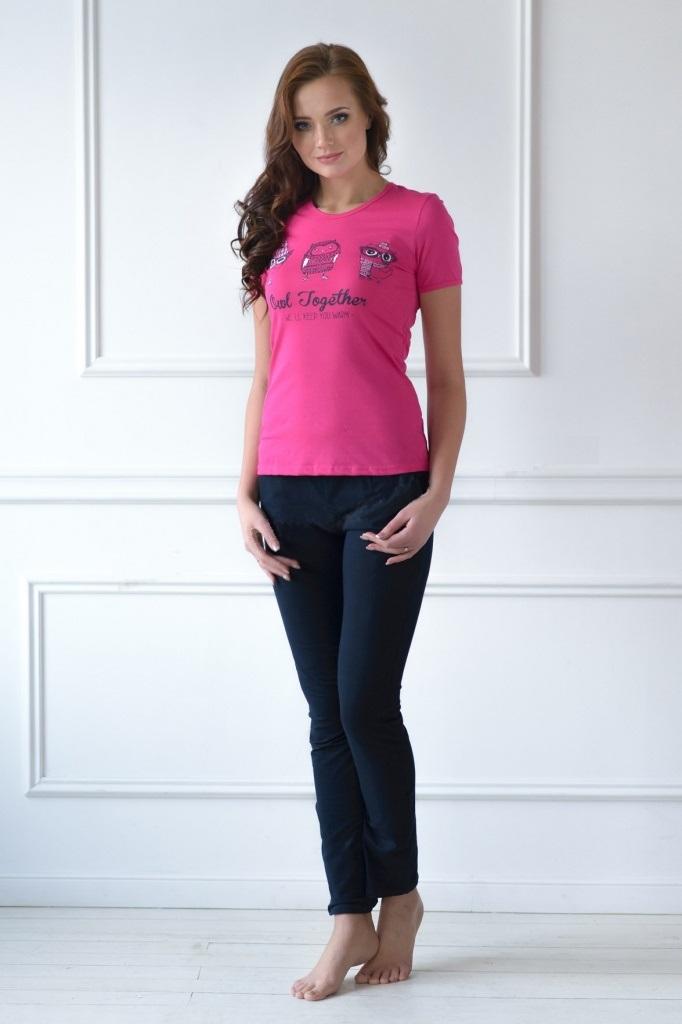 Комплект женский Happy Owl футболка и брюкиДомашняя одежда<br><br><br>Размер: 50