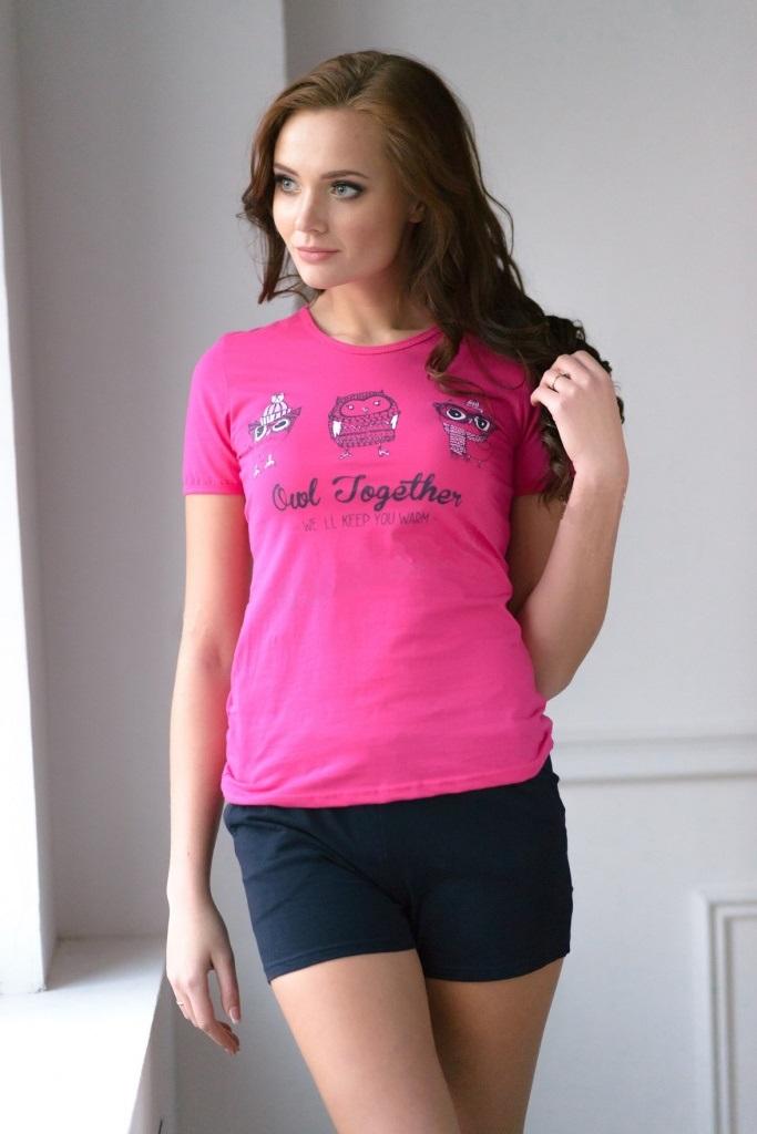 Комплект женский Lucky Owl футболка и шортыДомашняя одежда<br><br><br>Размер: 46