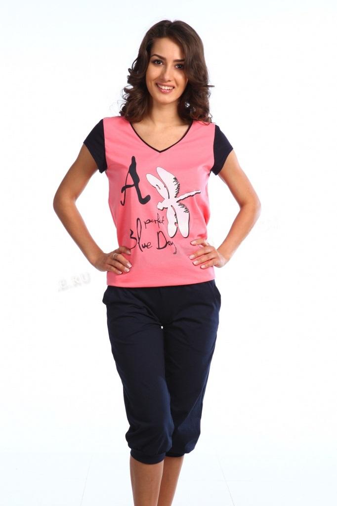 Комплект женский Perfect Day футболка и бриджиДомашняя одежда<br><br><br>Размер: Коралловый