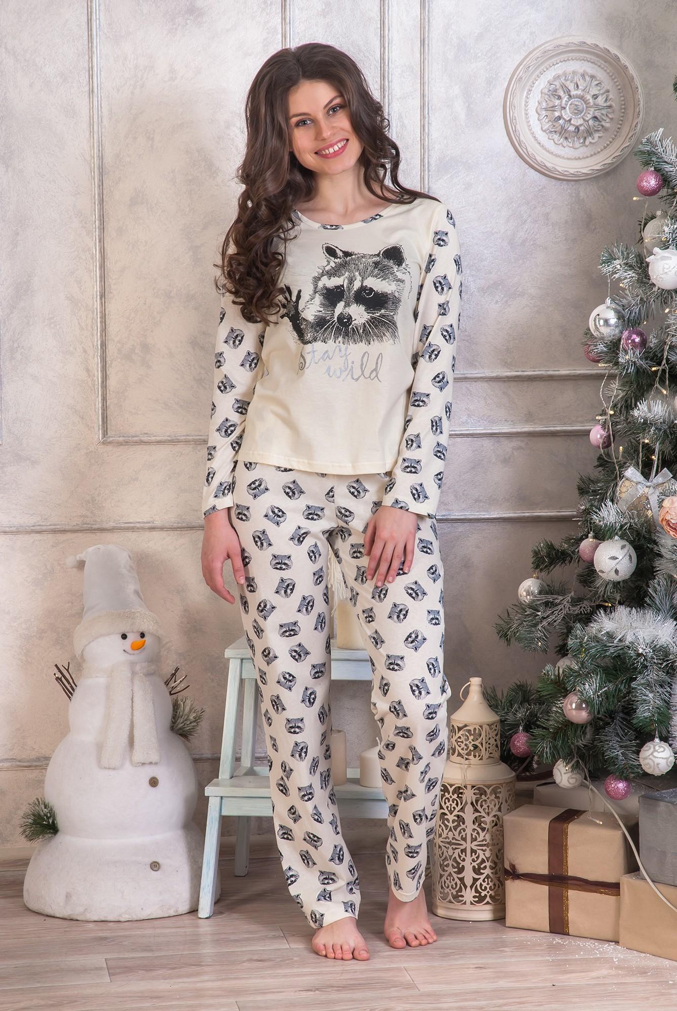 Костюм женский домашний Енот кофта и брюкиДомашняя одежда<br><br><br>Размер: 52