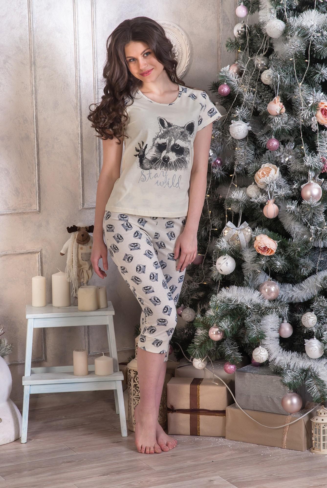 Костюм женский Енот футболка и бриджиДомашняя одежда<br><br><br>Размер: 54