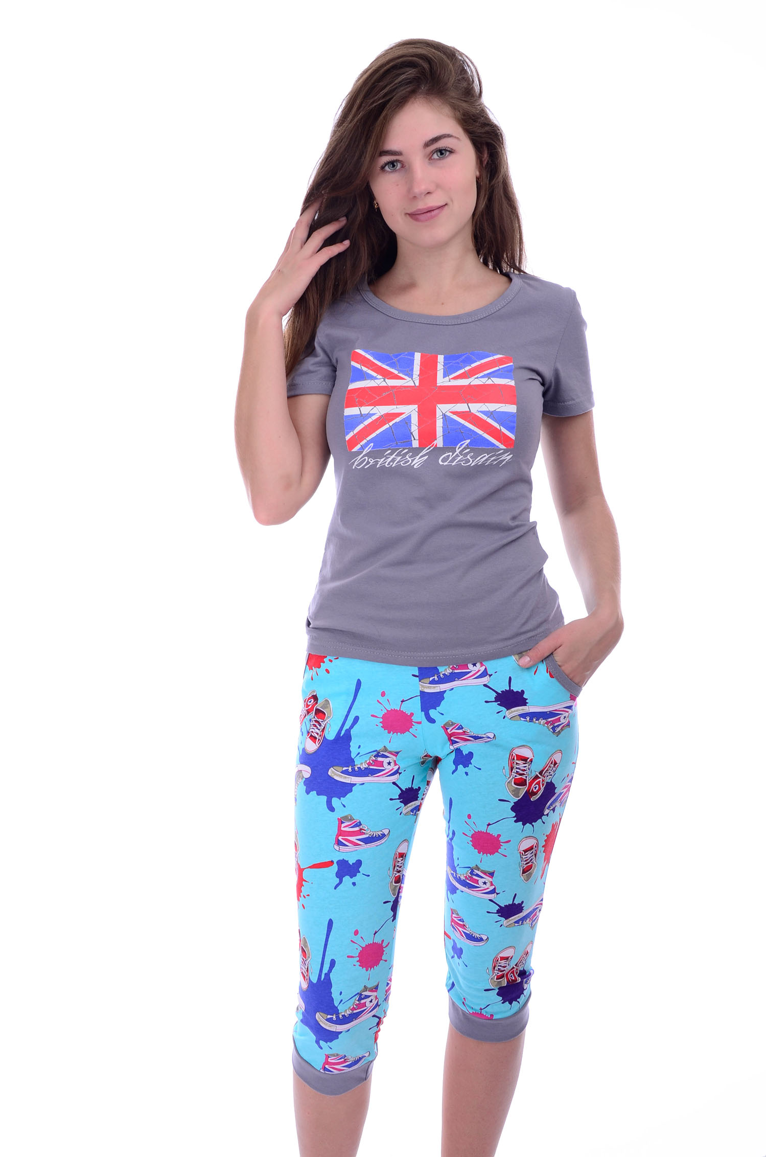 Костюм женский Бристоль футболка и бриджиДомашние комплекты, костюмы<br><br><br>Размер: 44