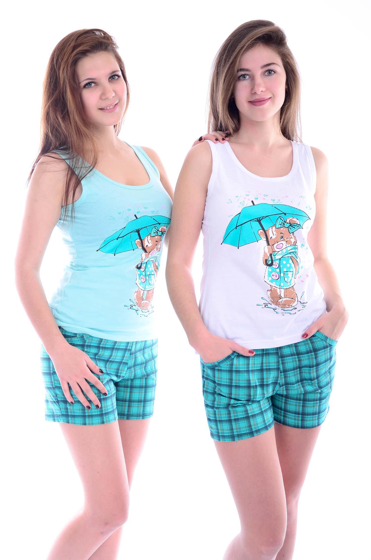Костюм женский Мишка майка и шортыДомашняя одежда<br><br><br>Размер: Бирюзовый