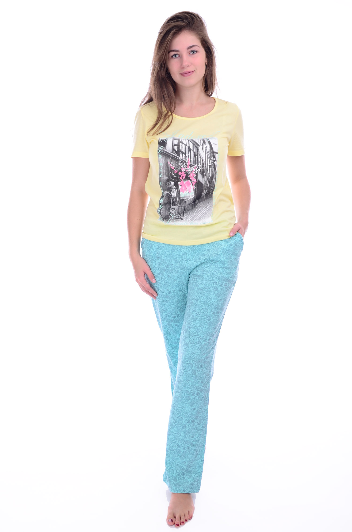 Костюм женский Жадор футболка и брюкиДомашняя одежда<br><br><br>Размер: 52