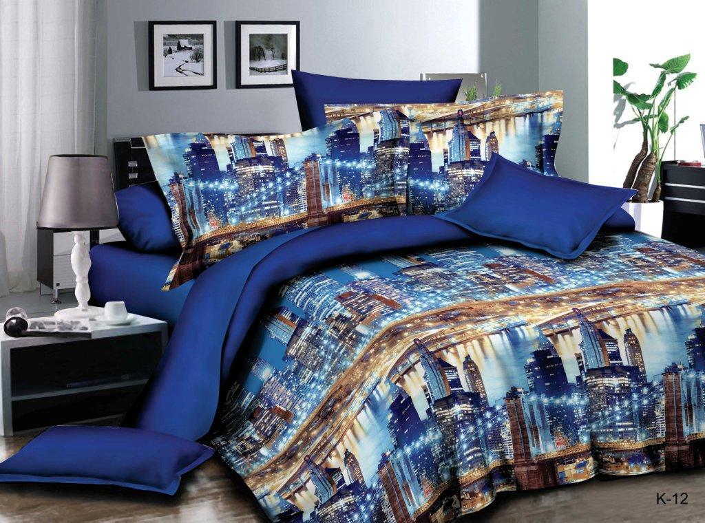 Комплект постельного белья из полисатина Огни мегаполисаПолисатин<br><br><br>Размер: Евростандарт (2 нав. 70х70)