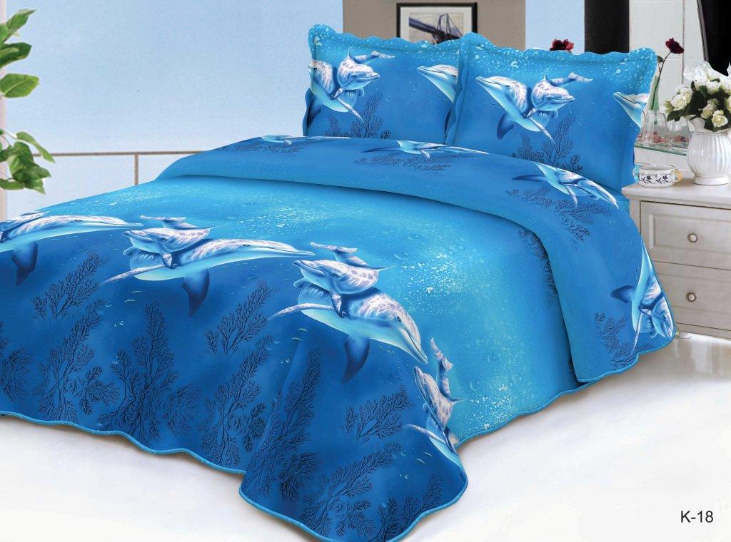 Комплект постельного белья из полисатина Песня моряПолисатин<br><br><br>Размер: Семейный (2 нав. 70х70)