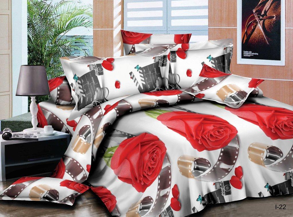 Комплект постельного белья из полисатина ФотомодельПолисатин<br><br><br>Размер: Семейный (2 нав. 70х70)