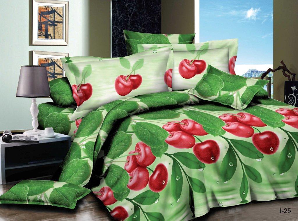 Комплект постельного белья из полисатина Спелая вишняПолисатин<br><br><br>Размер: Евростандарт (2 нав. 70х70)