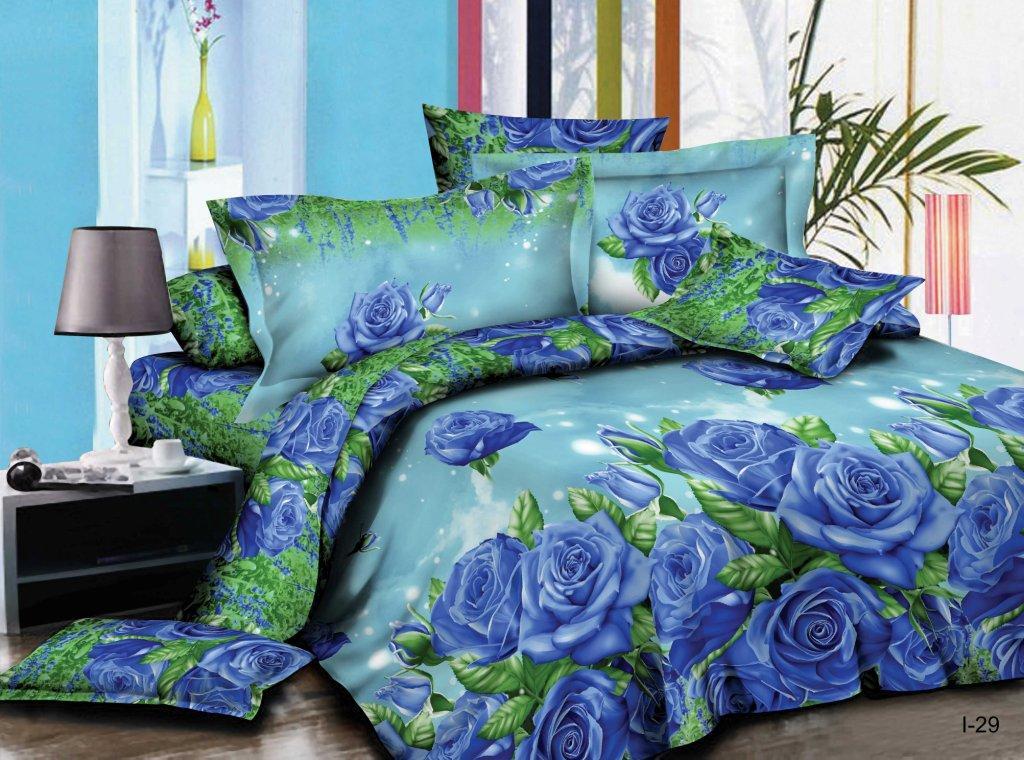 Комплект постельного белья из полисатина Голубая розаПолисатин<br><br><br>Размер: Семейный (2 нав. 70х70)