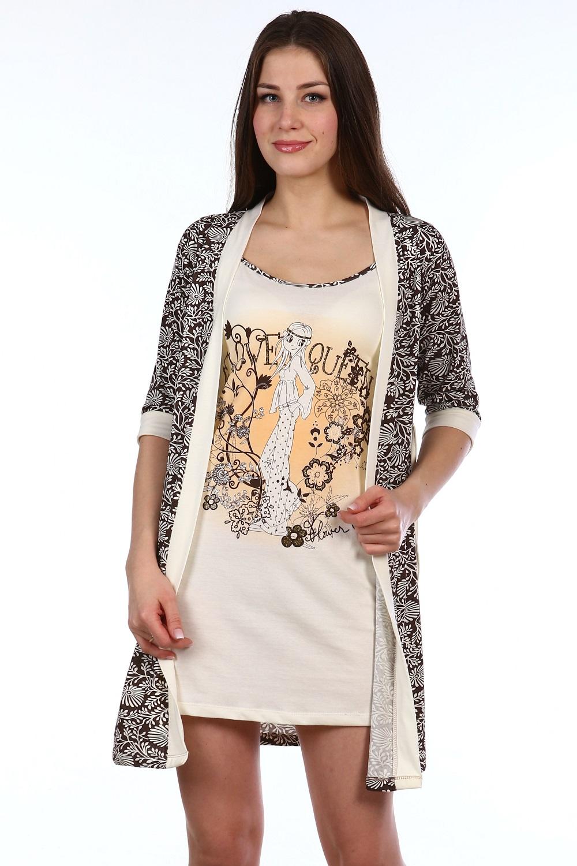 Пеньюар женский Философия халат и сорочкаДомашняя одежда<br><br><br>Размер: Бежевый с оранжевым