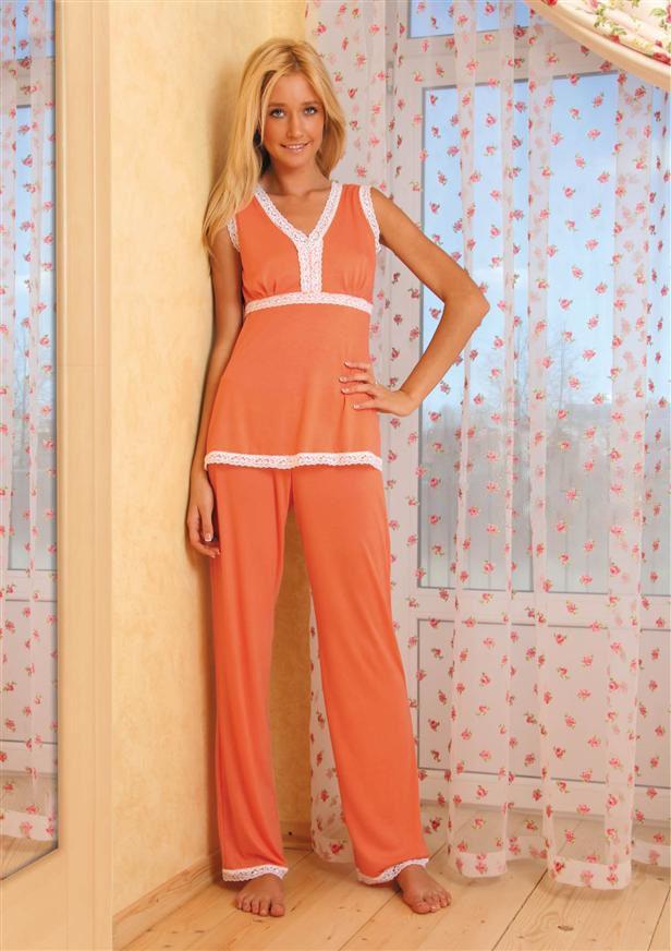 Пижама женская Эвелина майка и брюкиДомашняя одежда<br><br><br>Размер: Бежевый
