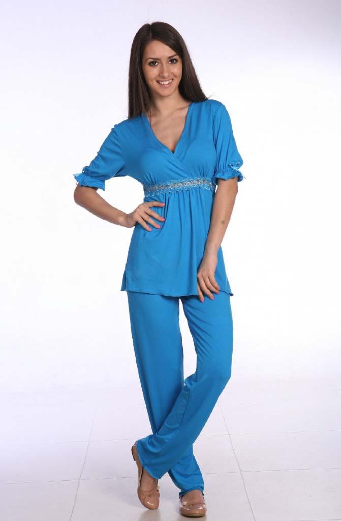 Пижама женская Клара блуза и брюкиДомашняя одежда<br><br><br>Размер: Бирюза