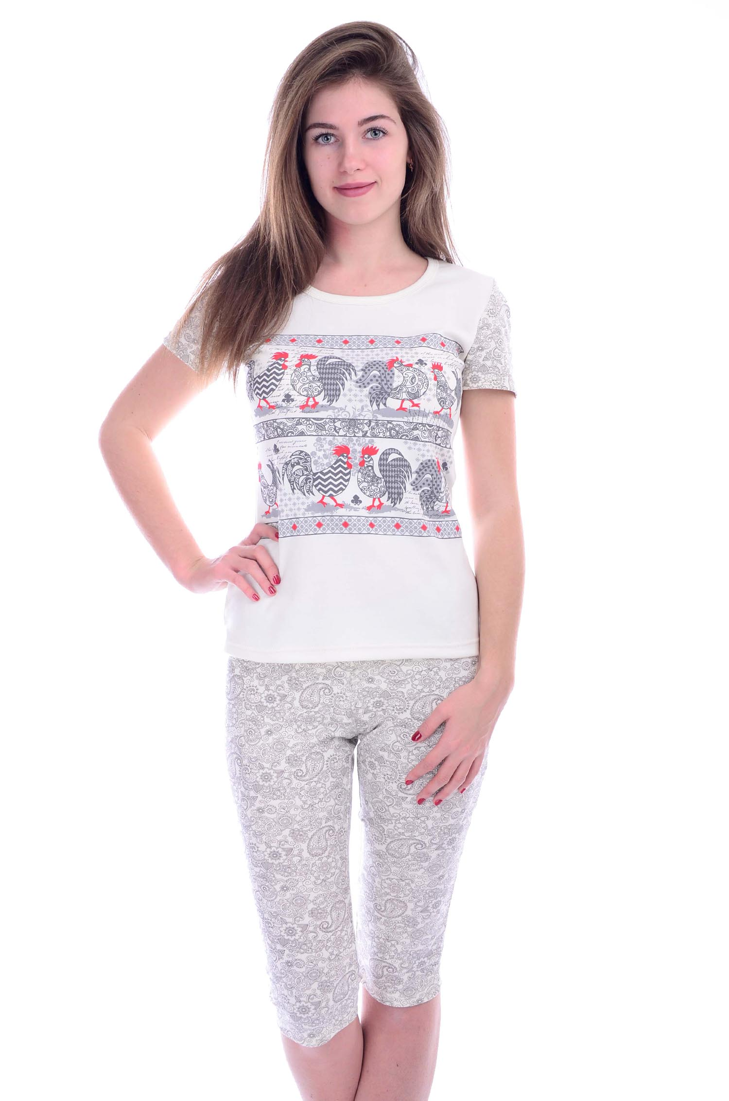 Пижама женская Петушки футболка и бриджиДомашняя одежда<br><br><br>Размер: 46