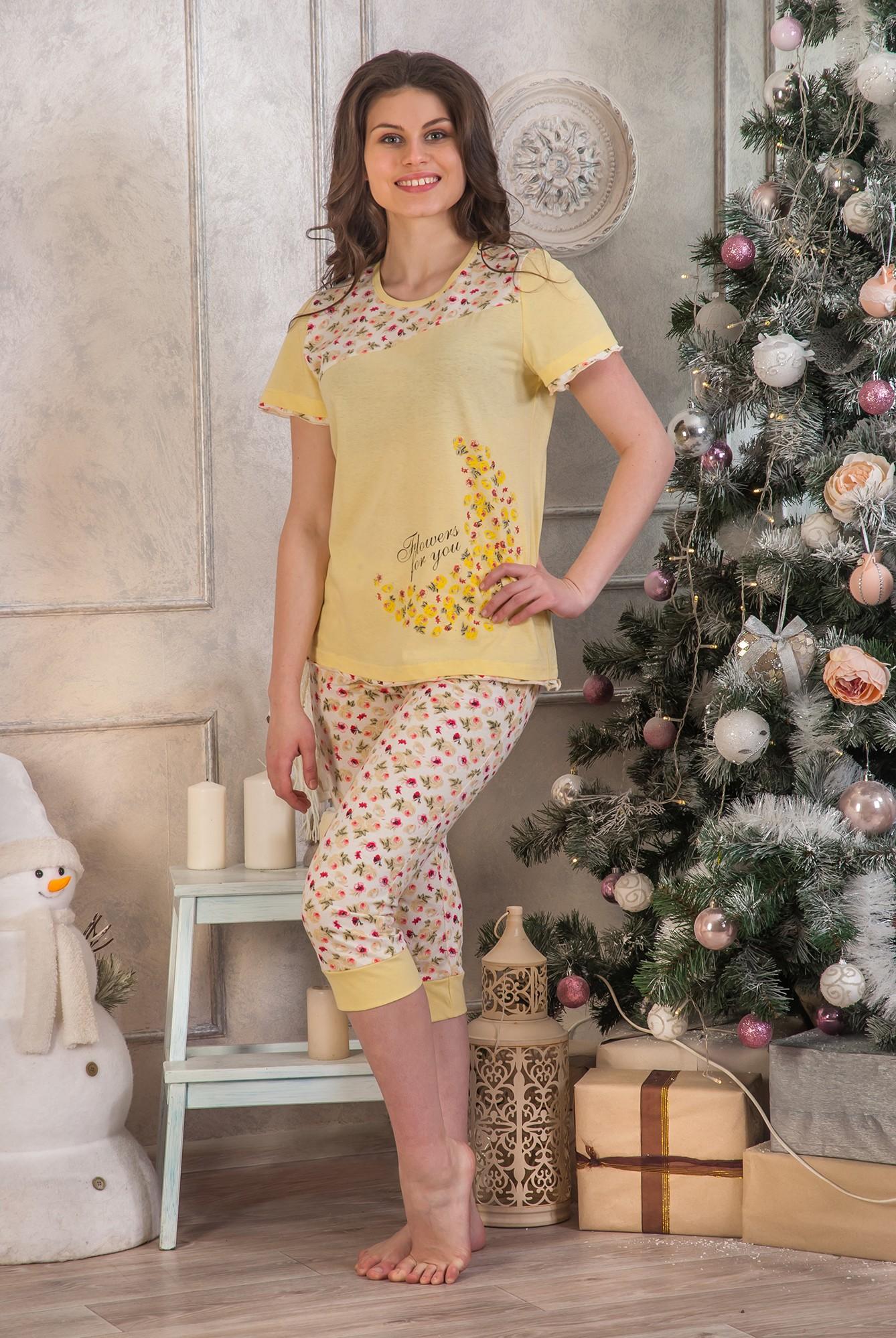 Пижама женская Соната футболка и бриджиДомашняя одежда<br><br><br>Размер: 52