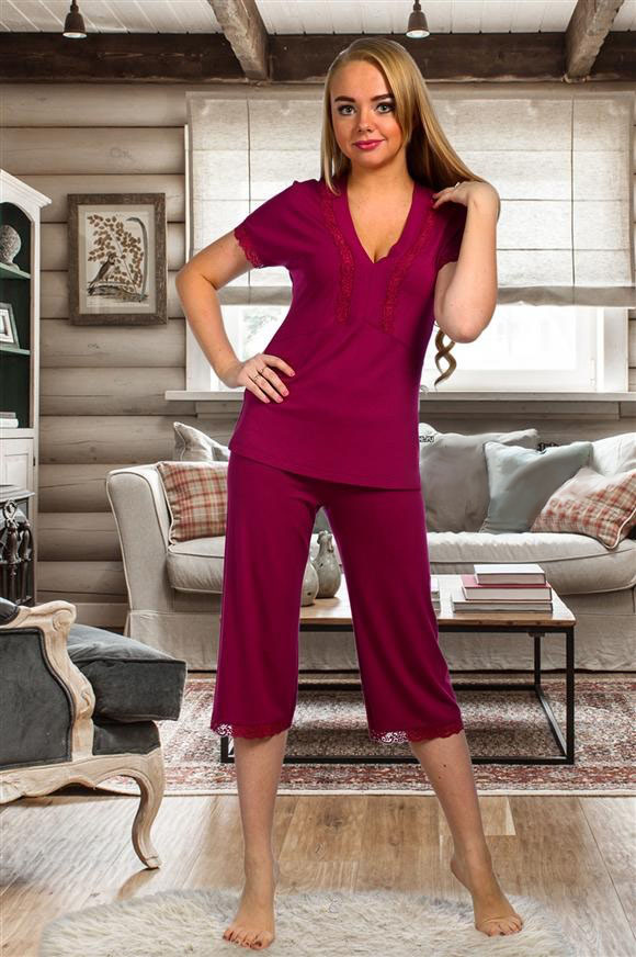 Пижама женская Стефани майка и брюкиДомашняя одежда<br><br><br>Размер: Вишневый