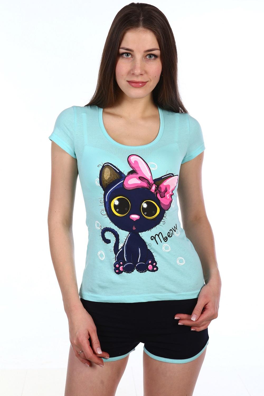 Пижама женская Клёпа футболка и шортыДомашняя одежда<br><br><br>Размер: Голубой