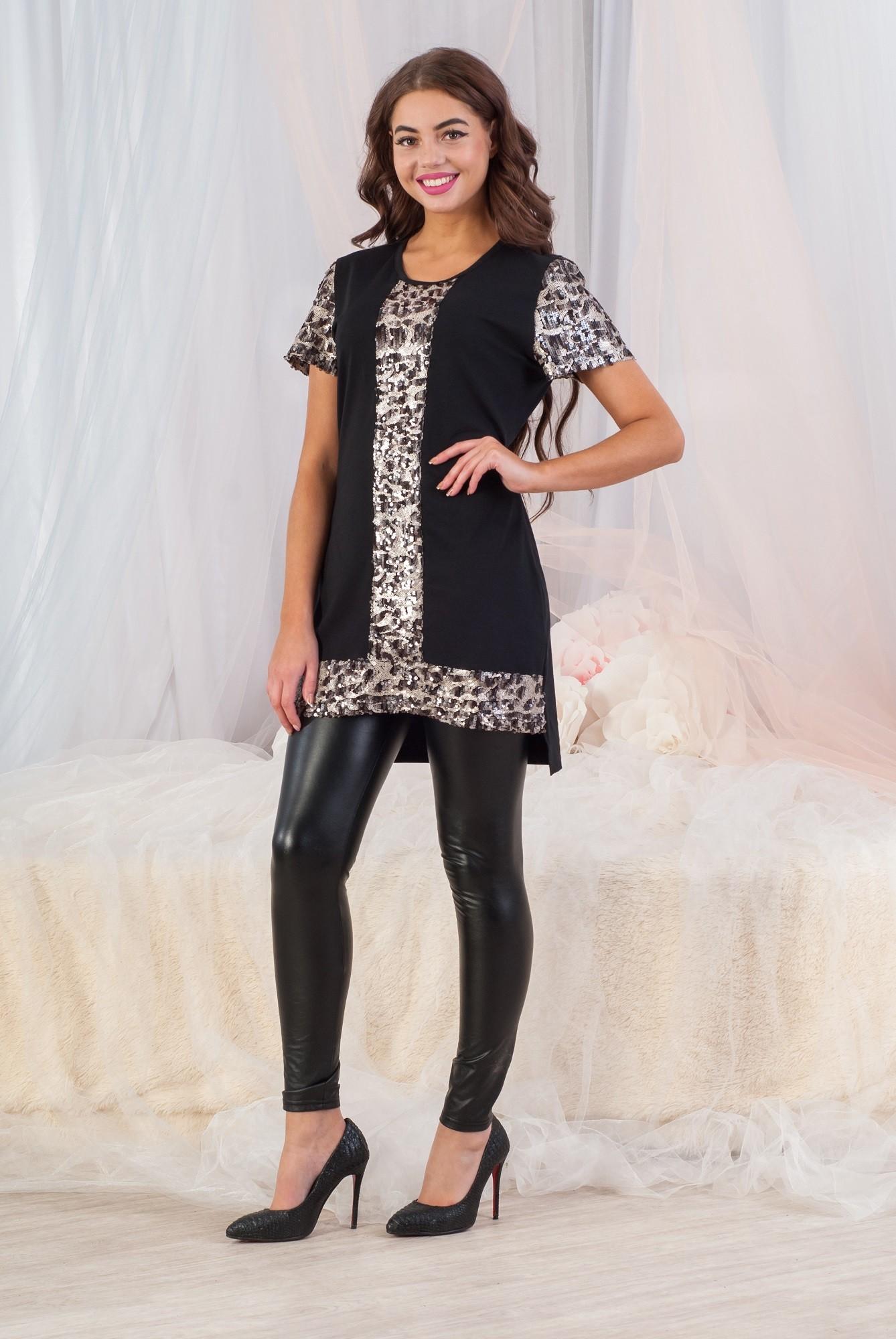 Платье-туника женское Праздник с круглым вырезомПлатья<br><br><br>Размер: 52
