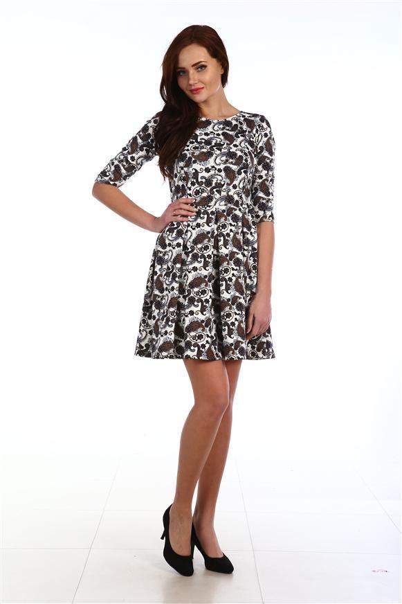 Платье женское Элизабет классик с юбкой в складкуКоллекция ОСЕНЬ-ЗИМА<br><br><br>Размер: Белый
