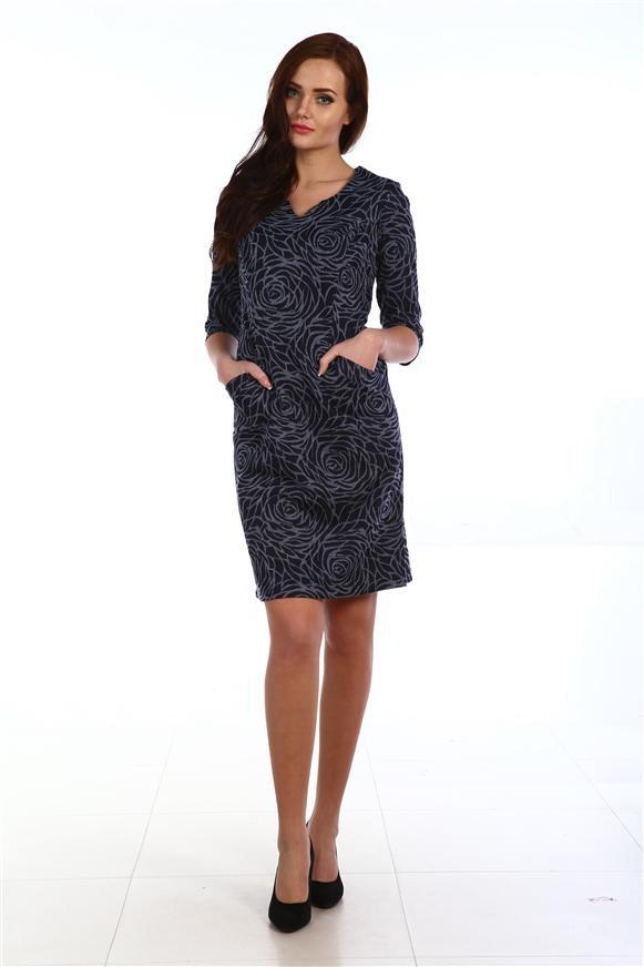 Платье женское Розочка с карманамиКоллекция ОСЕНЬ-ЗИМА<br><br><br>Размер: 58