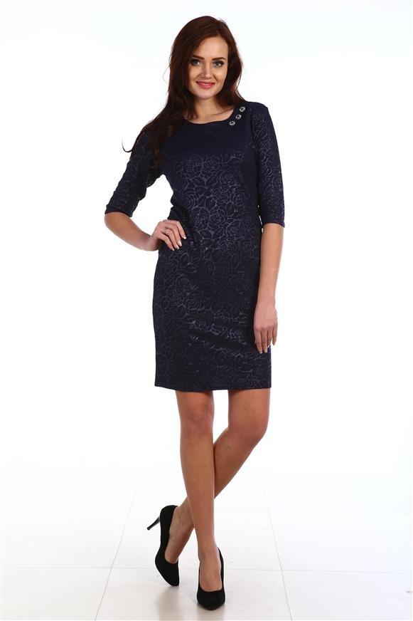 Платье женское Розы с круглым вырезомКоллекция ОСЕНЬ-ЗИМА<br><br><br>Размер: 50