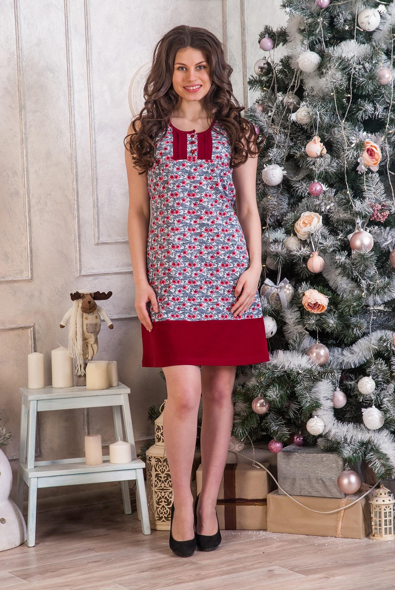 Платье женское Маки без рукаваПлатья и сарафаны<br><br><br>Размер: 48