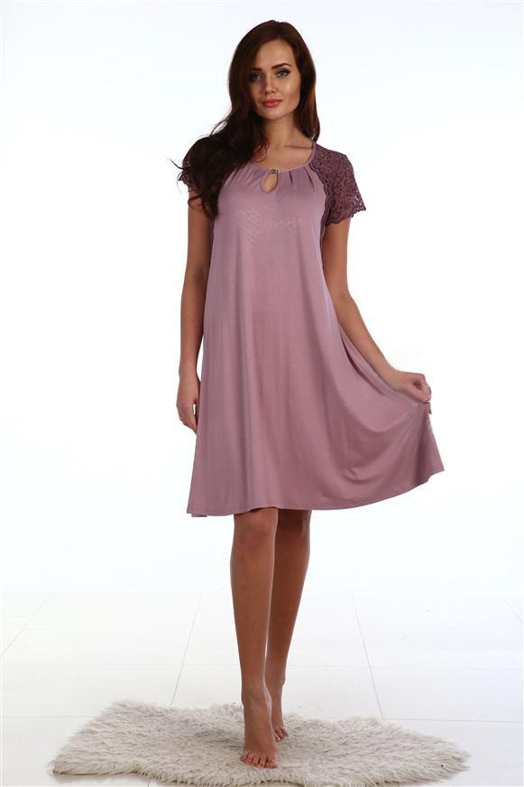 Сорочка женская Фаина с кружевным рукавомДомашняя одежда<br><br><br>Размер: Какао