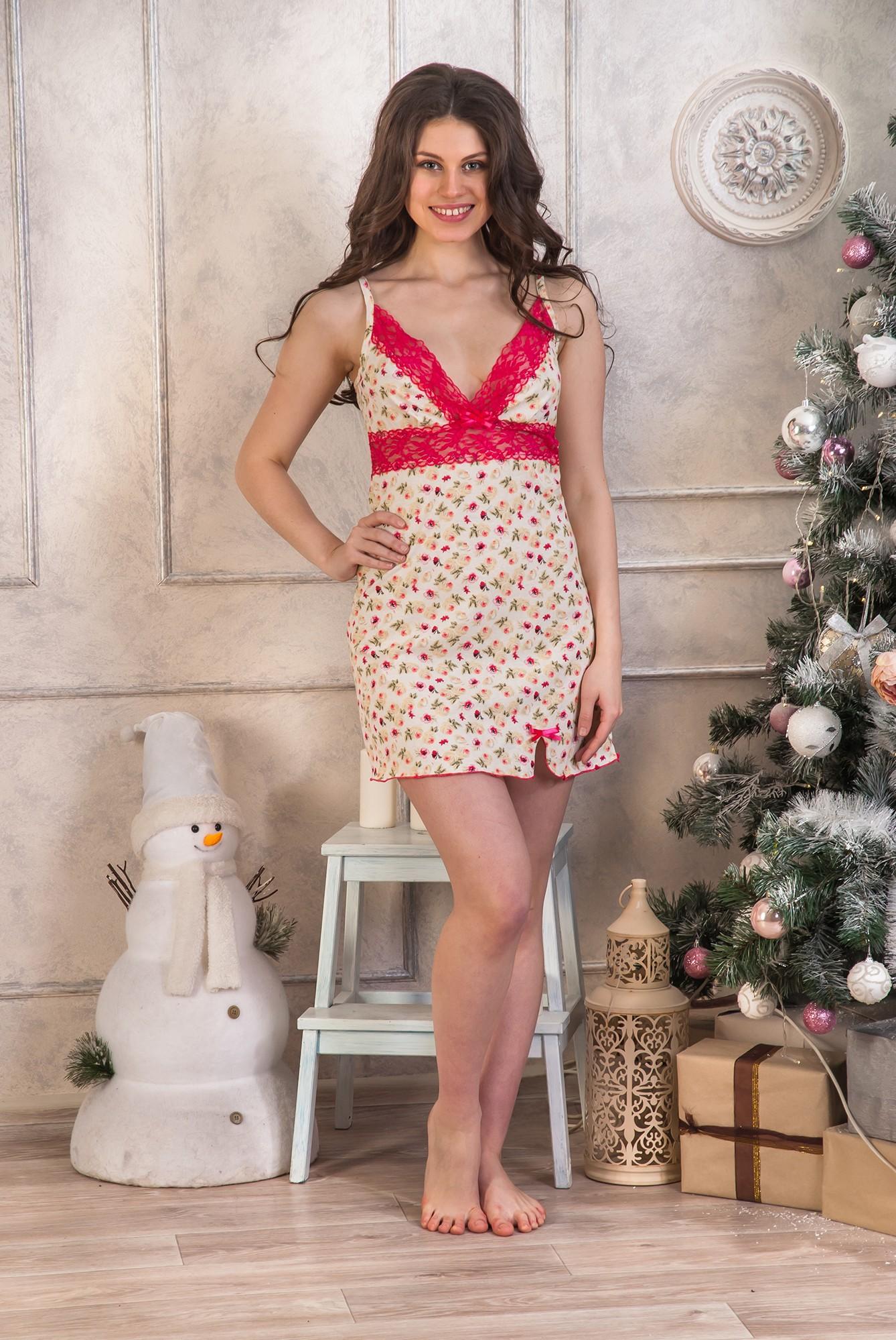 Сорочка женская Лира на тонких бретеляхДомашняя одежда<br><br><br>Размер: 48