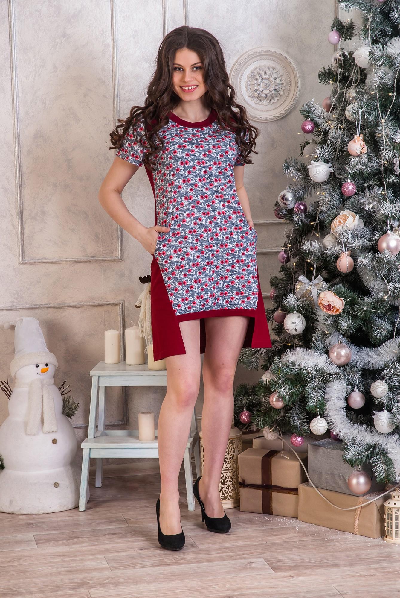 Туника женская Маки с разноуровневым подоломТуники, рубашки и блузы<br><br><br>Размер: 50