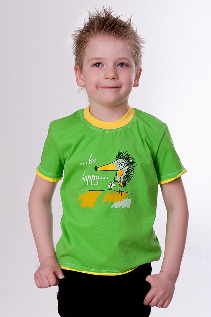 Футболка детская Еж зеленаяФутболки<br><br><br>Размер: 40 (ростовка 158)