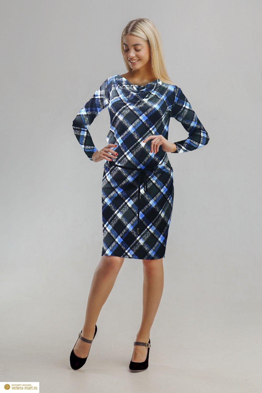 Платье женское Головокружение с поясомПлатья<br><br><br>Размер: Синий