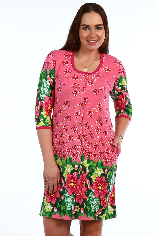 Халат женский Лето красное на пуговицахДомашняя одежда<br><br><br>Размер: 52