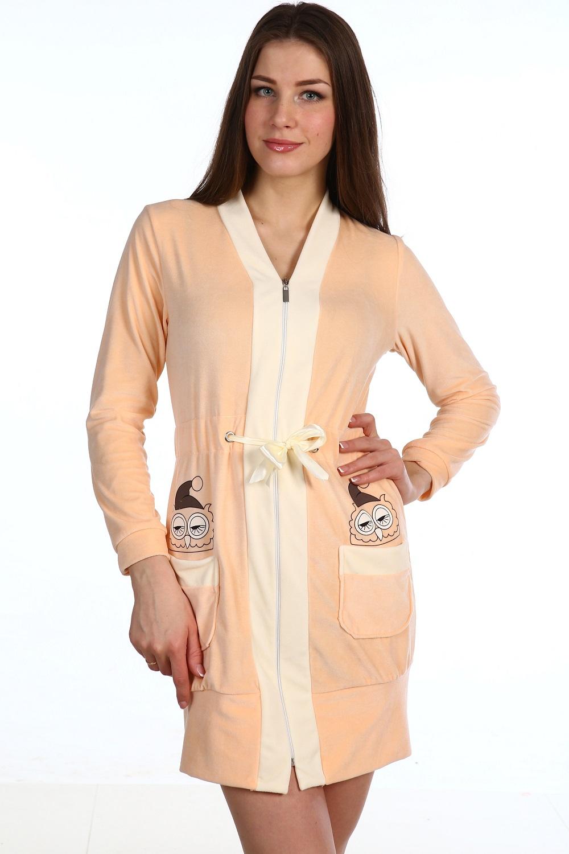 Халат женский Sleepy Owl на молнииДомашняя одежда<br><br><br>Размер: Персиковый