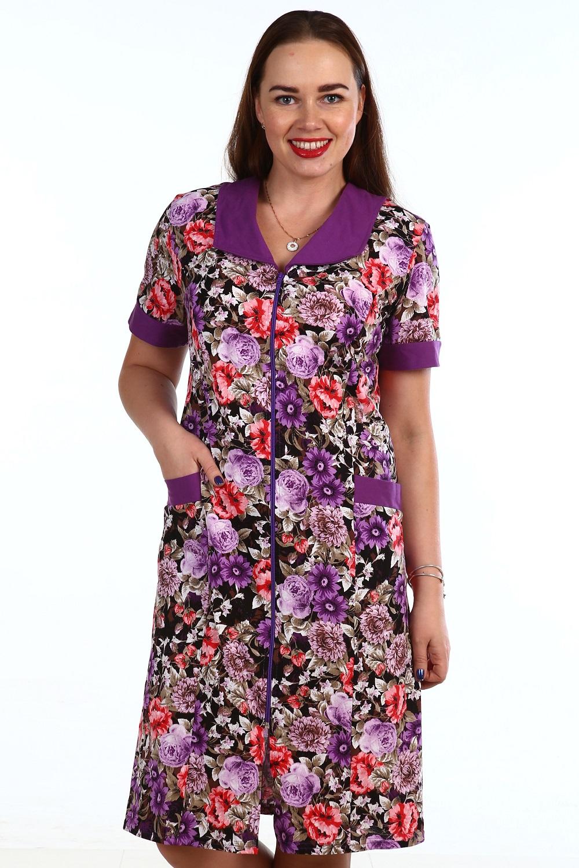 Халат женский Герань на молнииДомашняя одежда<br><br><br>Размер: 52