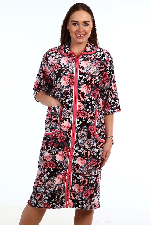 Халат женский Хенски на молнииДомашняя одежда<br><br><br>Размер: 64