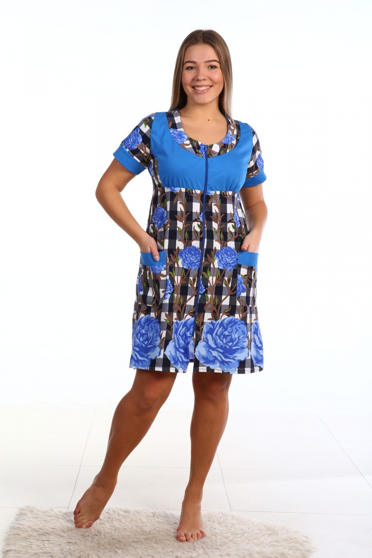 Халат женский Новелла на молнииДомашняя одежда<br><br><br>Размер: 60