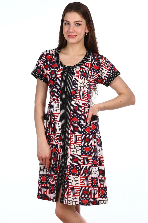 Халат женский Эйфория на молнииДомашняя одежда<br><br><br>Размер: Красный с белым