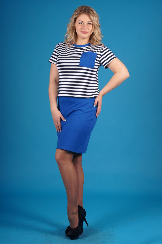 Костюм женский Черноморочка футболка и юбкаКостюмы<br><br><br>Размер: 52