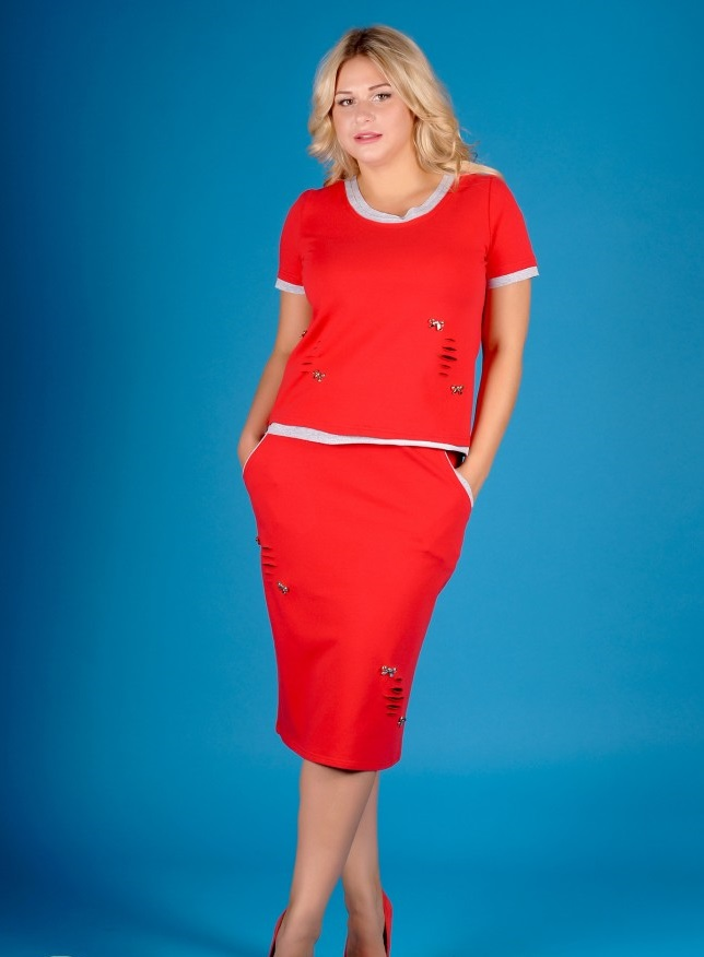 Костюм женский Джинджер футболка и юбкаКостюмы<br><br><br>Размер: 54