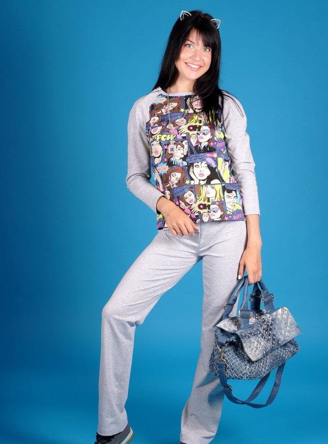 Костюм женский Комикс футболка и брюкиКоллекция ОСЕНЬ-ЗИМА<br><br><br>Размер: Синий (только размер 46)