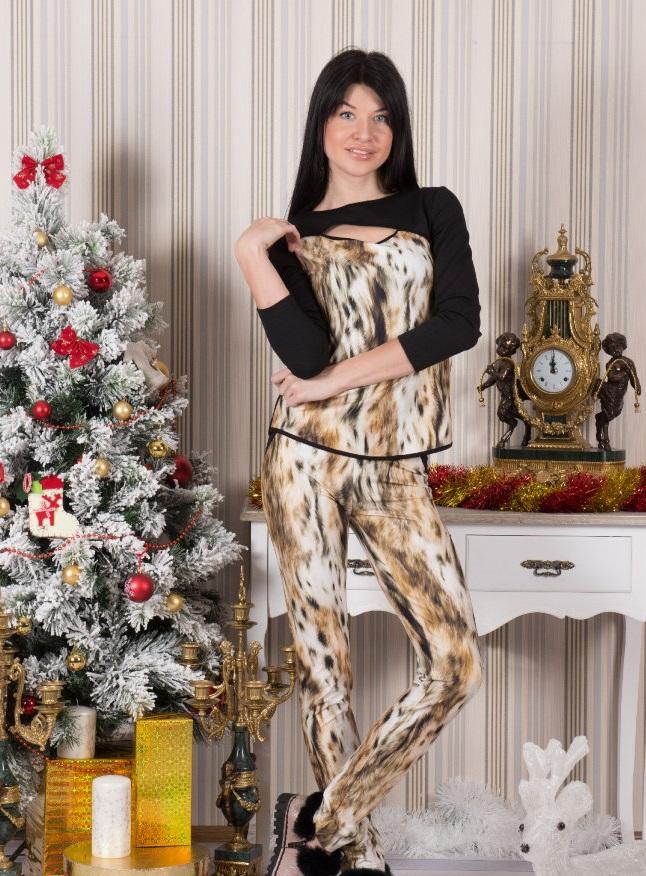 Костюм женский Рысь туника и брюкиДомашние комплекты, костюмы<br><br><br>Размер: 52