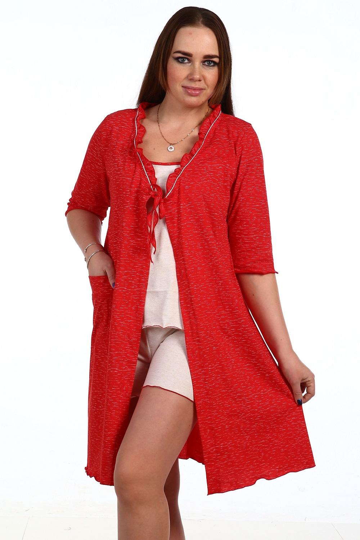 Пеньюар женский Кувшинка тройка: майка, шорты и халатДомашняя одежда<br><br><br>Размер: 50
